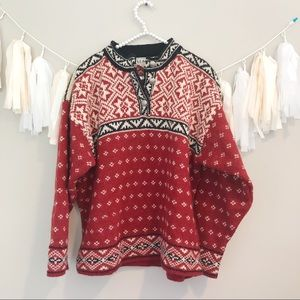 LL Bean Vintage Wool Fair Isle Nordic Red Sweater